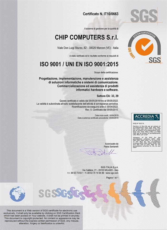 Copia del certificato Iso 9001 Chip Computers S.r.l.